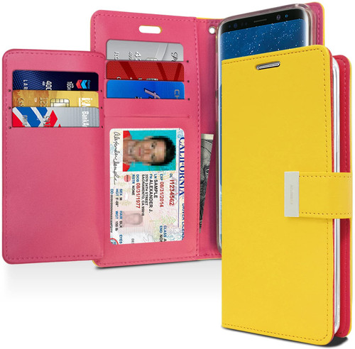 Rich Diary Wallet Case for Samsung Galaxy S9 Plus (Yellow & Pink)