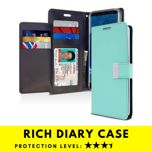 Rich Diary Wallet Case for Samsung Galaxy S9 Plus (Mint & Navy)