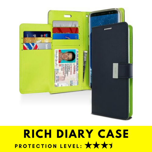 Rich Diary Wallet Case for Samsung Galaxy S9 Plus (Navy & Green)