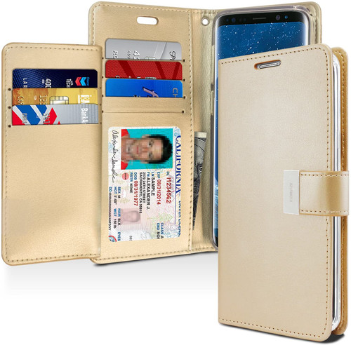 Rich Diary Wallet Case for Samsung Galaxy S9 Plus (Gold)
