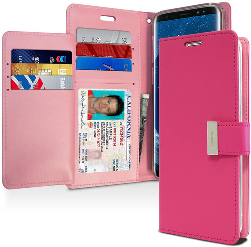Rich Diary Wallet Case for Samsung Galaxy S9 Plus (Hot Pink)