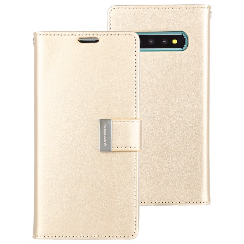 Rich Diary Wallet Case for Samsung Galaxy S10 (Gold)