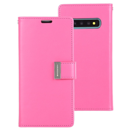 Rich Diary Wallet Case for Samsung Galaxy S10 (Hot Pink)