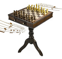 Timeless Handcrafted Walnut Finish 30 Note Italian Musical Pedestal Chessboard