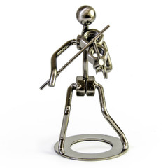 Handcrafted metal musician with violin figurine