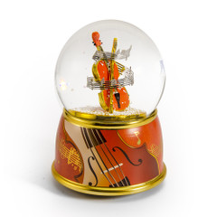 Music Theme Violin with Painted Base Musical Water / Snow Globe