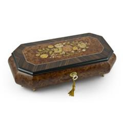 Traditional Floral Motif Wood Inlay Cut Corner Music Jewelry Box