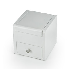 Matte White 18 Note Ballerina Musical Jewelry Box w Drawer - Customizable