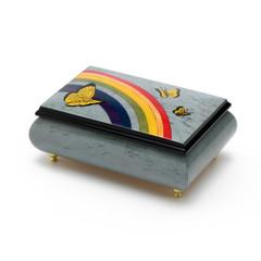 Joyful Light Blue and Wood Tone Butterfly and Rainbow Musical Jewelry Box