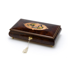 Handcrafted Wood Tone Twin Butterfly Inlay Music Jewelry Box