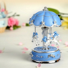 Exquisite Blue and Silver Worlds Fair Style Animated Musical Carousel