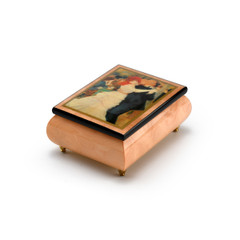Handcrafted Ercolano Music Box Featuring Dance of Bougival by Renoir, Pierre Auguste