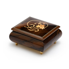 Delightful Warm Wood Tone Musical Jewelry Box with Floral and Heart Outline Inlay