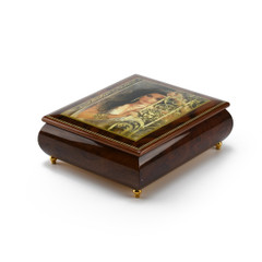 Gorgeous Wood Tone Ercolano Painted Music Box Titled Circe by Brenda Burke