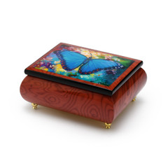 Gorgeous Handcrafted Red-Wine Butterfly Music Box by Ercolano - Blue Morpho Simon Bull