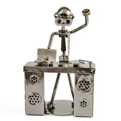 Handcrafted metal musician DJ figurine