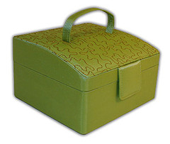 Rowalland Evelyn Sloping Top Green Embroidered Jewelry Box