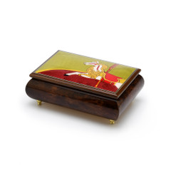 Handcrafted 22 Note Carousel Horse Wood Inlay Musical Jewelry Box