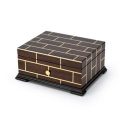 Brilliant Wood Tone Modern Masonry Design 36 Note Swiss Music Box