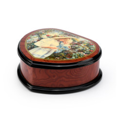 Adorable 18 Note Heart Shape Painted Ercolano Music Jewelry Box Titled -Mother and Child in Greenhouse