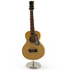 A Miniature Replica of a Classical Stringed Spanish Acoustic Guitar With Stand and Case