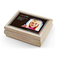 4 x 6 White Washed Photo Frame Music Box with New Pop-Out lens System