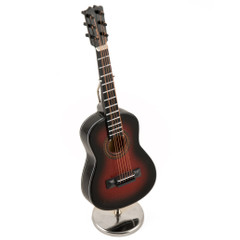 An Amazing Miniature Replica of A Dark Gradient Brown Steel-String Acoustic Guitar with Stand and Case