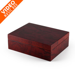 Contemporary 18 Note Hi Gloss Burl Wood Finish 7 LCD Video Jewelry Box