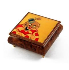 Joyful 30 Note Clown with Polka Dot Custom Wood Inlay Musical Jewelry Box