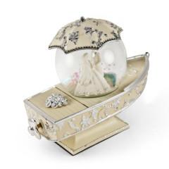 Romantic Gondola Inspired Musical Snow Globe with Fantasy Wedding Theme