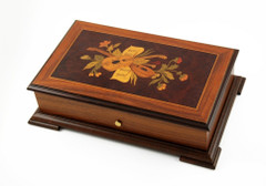 Traditional 50 Note Music Box with Music Instruments and Flower Inlay