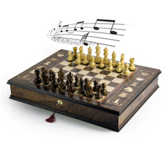Handcrafted Italian 18 Note Musical Tabletop Chessboard in Walnut Finish