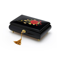 Enchanting 30 Note Black Lacquer Single Red Rose with Gold Hardware Music Jewelry Box
