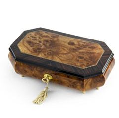 Handcrafted 18 Note Classic Style Cut Corners Music Jewelry Box with Lock and Key