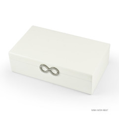 Contemporary 22 Note Matte White Infinity Musical Jewelry Box