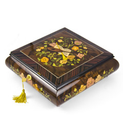 Grand 18 Note Italian Music Instrument Theme Inlay Musical Jewelry Box with Pull Out Tray