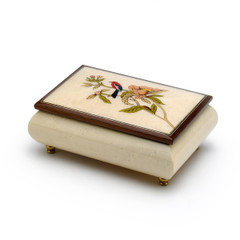 Incredible 30 Note Handcrafted Ivory Music Box with Bird and Flower Inlay