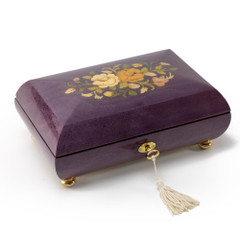 Handcrafted Purple Stain Floral Inlay Italian 18 Note Music Box