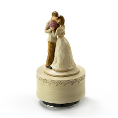 Sculpted Wooden Style Musical Figurines in a Loving Warm Embrace