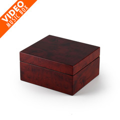 Modern Hi Gloss 36 Note Burl Wood 3.6 LCD Video Jewelry Box
