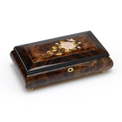 Radiant 30 Note Single Stem Mother of Pearl White Rose Grand Music Jewelry Box