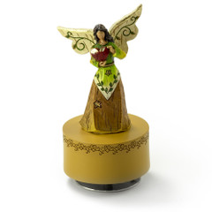 Sculpted Wooden Style Musical Angel Holding a Red Heart