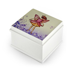 Matte White Enchanted Fairy 18 Note Ballerina Musical Jewelry Box - Many Song Choices