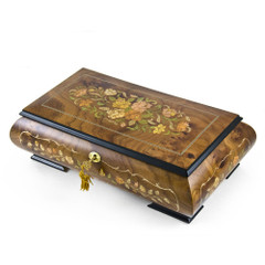 Handcrafted 22 Note Italian Double Level Floral Musical Jewelry Box