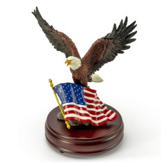 American Bald Eagle with American Flag on Wooden Base Musical Figurine