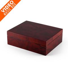 Contemporary 36 Note Hi Gloss Burl Wood Finish 7 LCD Video Jewelry Box