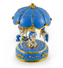 Exquisite Worlds Fair Style Blue Canopy With Gold Accents Animated Musical Carousel