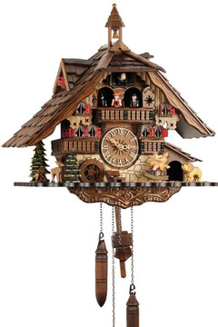 Black Forest Chalet Style Musical 1 Day Cuckoo Clock with Bell Tower and Beer Drinker