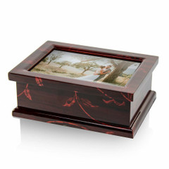 Modern 30 Note 4 x 6 Photo Frame Musical Jewelry Box with Floral Motifs