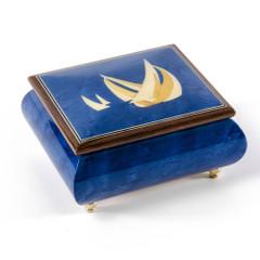 Vibrant Blue Sailboat Handcrafted Italian Music Box